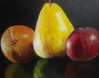 Original painting, fruit, orange, pear, apple, canvas, acrylic paint, 16x20 inches, artwork.