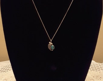 Turquoise and Sterling Silver Signed JRE Matching Necklace and Earrings  / Native American