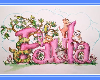 Full color hand illustrated kids name