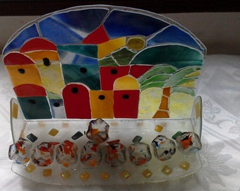 Hanuka:Judaica  Original Staind Glass Fusing. Handmade. 12x10 inch/ Jerusalem