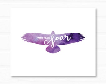 You Can Soar | purple eagle art | encouraging art print | inspirational quote | digital download | instant inspirational art | wall art