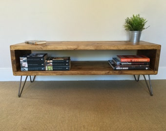 Rustic Wood TV Stand | Living Room Table | Side Table Made From Reclaimed Scaffold Boards on Hairpin Legs - Industrial Urban