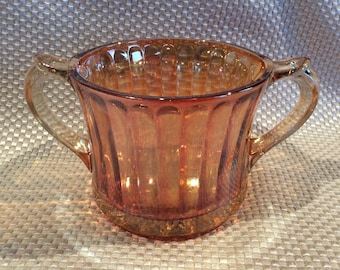 Vintage EAPG Carnival marigold glass sugar early American pressed glass