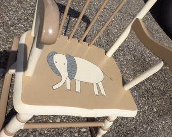 Custom Painted Kid's Elephant Rocking Chair