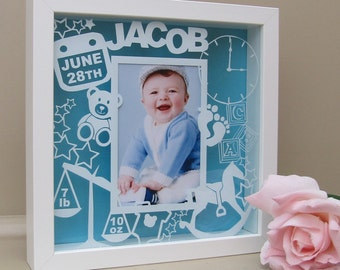 Personalised Baby Frame for 6x4 photo - Papercut inspired