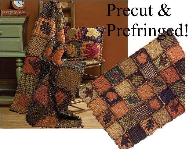 Autumn Leaves Rag Quilt Kit Precut Pre Fringed Squares