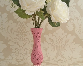 Pink vase with pearl detail