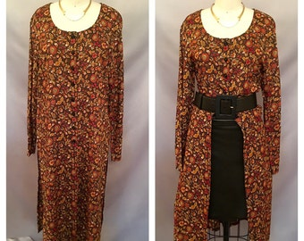 SALE!!! Vintage Black And Tan Floral Tunic