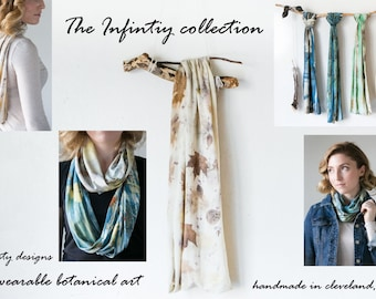 Hand Dyed Botanical Contact Printed Infinity Scarf