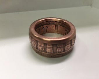 Solid Copper Mayan Calendar Design Ring