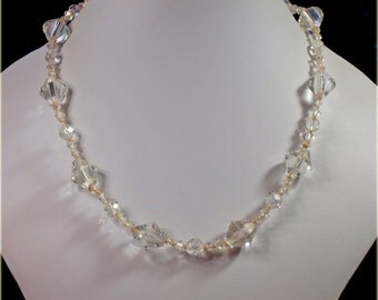 Vintage, Clear, Bicone Glass Beaded Necklace (2642)