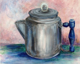 Aluminum Vintage Coffee Pot Original Painting Acrylic 12 x 12 inches