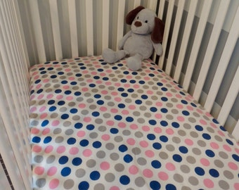 Matching Pink and Blue Flannel Crib Sheet