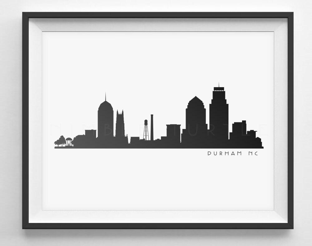 Durham NC Skyline Silhouette Printable Download Black and
