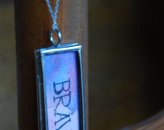 BRAVE watercolor locket with sterling silver chain