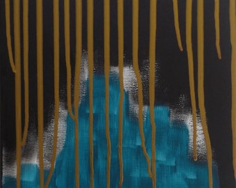 Original Abstract Painting, Acrylic Abstract, Modern Art Painting, Unique Painting, Drips, Stretched Canvas, 30x40cm, Turquoise, Gold, Black