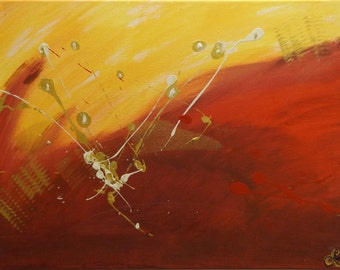 Original Painting, Abstract Painting, Acrylic Painting, Modern Art, Picture, Stretched Canvas, 30x40cm, Yellow, Gold, Cream, Red, Splatter