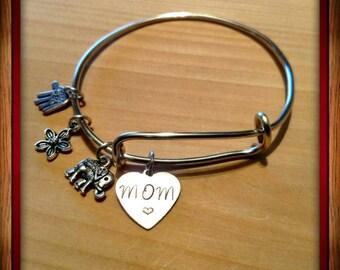 Mom Bracelet with elephant charm (Tarnish resistant wire). Item#12