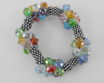 Bracelet Multi Colored Crystal and Silver Beads