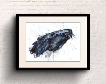 Three Eyed Raven Game of Thrones Bran Stark Hand Painted Watercolor Print