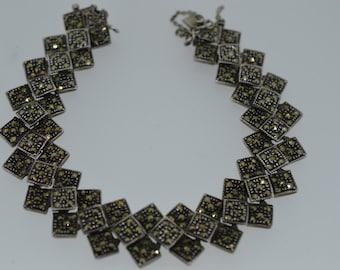 Vintage Art Deco Style Layered Marcasite & Sterling Silver Bracelet