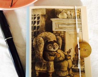 Owl by the Fire- journal, notebook, vintage, ephemera, upcycled, owl, fountain pen, vintage journal, upcycled journal