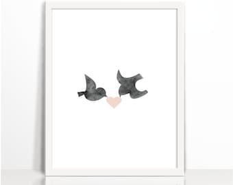 Love Birds, Spring Love,Pastel, Romance, Watercolor,  Art Printable, Wall Decor, Illustration Art, Brids, Water Colour Printable, Oriental
