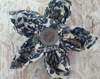 Flower Brooch,Fabric Brooch,Fabric Flower Brooch,Brooch,Handmade,Blue Green & Cream