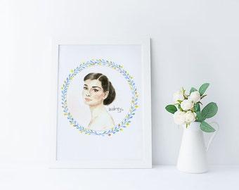 Audrey Hepburn Watercolor Illustration Original Art Print