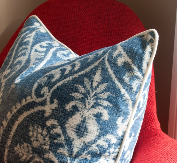 Modern Pillow And Throws : Items similar to BLUE PILLOW COVER - Modern Damask Pillow Cover - Denim Pillows - Decorative ...