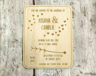 Wooden  Wedding Invites, Personalised Wedding Invitations