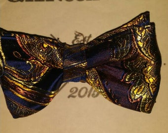 Navy blue & gold paisley bow tie.