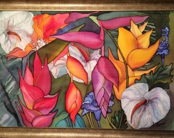 "Batik,""Jungle"",art,Picter on silk,handmade,paints for silk painting"