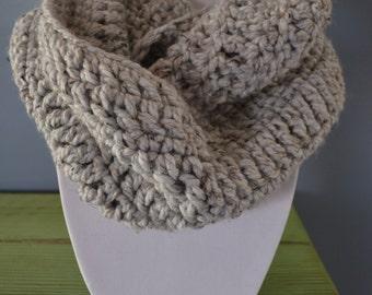 Chunky Gray Marble Infinity Crochet Scarf