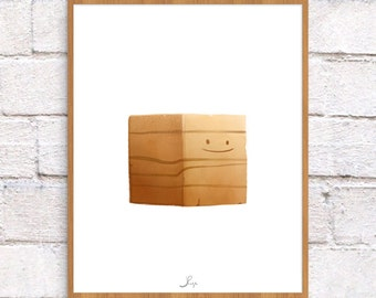 Wood Block Toy Illustration - 8 x 10 Art Print