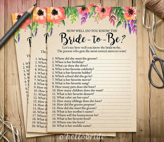 Bridal Shower How Well Do You Know The Bride To Be Game
