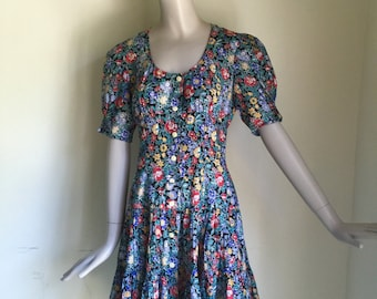 Vtg 70s Cacharel cotton button up tiered floral dress