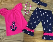 FREE Headband! Baby Girl Clothes, Toddler Girl, Nautical Anchor Outfit, Cute Girl Clothes, Add Monogram Clothing Girl Outfits Outfit
