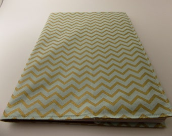 Gold and Green, Chevron Notebook Cover with Stiff Back