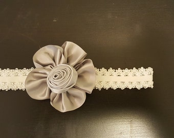 White Headband w/ Large Fancy Flower