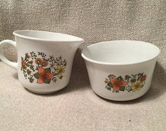 Corelle by Corning ware sugar bowl and creamer