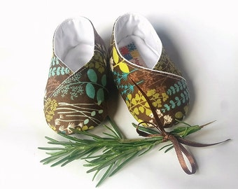 baby shoes baby Mint and Rosemary Brown and green cotton