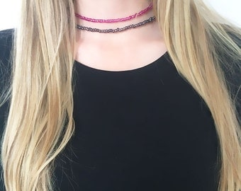 Magenta choker necklace, pink choker, beaded necklace, seed bead necklace, boho necklace, beaded choker necklace, gift for her, seed beads