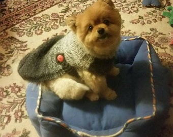 Hand Knit Dog Sweater in Grey Charcoal/Charcoal