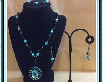 Aqua and Black Necklace, Bracelet and Earring set