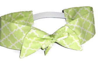 Green Cotton Kids Headband  - Celery Green  - Girls Elastic Back Headband - Girls Hait Bow - Girls Summer Headband - Celedon