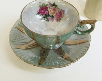 Wales Tea Cup Saucer | Green Gold Floral Iridescent | Made in Japan Mid Century