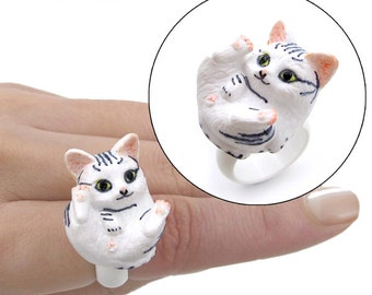 Handmade 3D Kitty Rings (A: Grey Tabby)