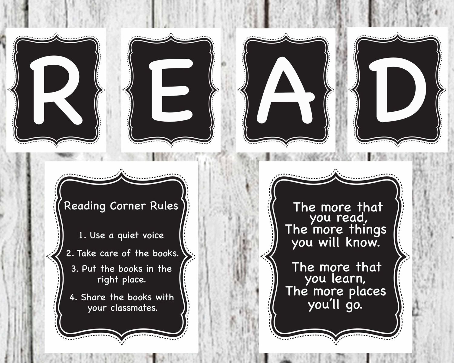 Classroom Decor Black And White ~ Chalkboard reading set read sign corner