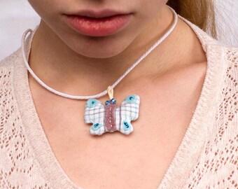 Butterfly jewelry Butterfly necklace Plush necklace Fabric necklace Butterfly pendant Gift for her Gift for girls Teen jewelry Soft jewelry